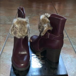 Leather faux fur booties